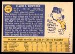 1970 Topps #499  Skip Lockwood  Back Thumbnail