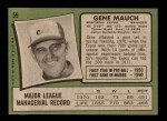 1971 Topps #59  Gene Mauch  Back Thumbnail