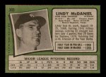 1971 Topps #303  Lindy McDaniel  Back Thumbnail