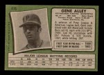 1971 Topps #416  Gene Alley  Back Thumbnail