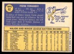 1970 Topps #82  Frank Fernandez  Back Thumbnail