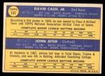 1970 Topps #141   -  Dave Cash / Johnny Jeter Pirates Rookies Back Thumbnail