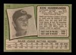 1971 Topps #510  Ken Harrelson  Back Thumbnail
