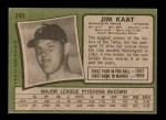 1971 Topps #245  Jim Kaat  Back Thumbnail