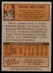 1978 Topps #8  Dave Meyers  Back Thumbnail
