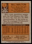 1978 Topps #1  Bill Walton  Back Thumbnail