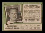 1971 Topps #239  Red Schoendienst  Back Thumbnail