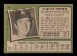 1971 Topps #10  Claude Osteen  Back Thumbnail