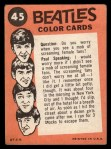 1964 Topps Beatles Color #45   Ringo Starr Back Thumbnail
