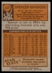 1978 Topps #107  Spencer Haywood  Back Thumbnail