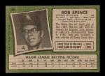 1971 Topps #186  Bob Spence  Back Thumbnail