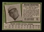 1971 Topps #620  Frank Howard  Back Thumbnail