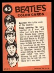 1964 Topps Beatles Color #43   Beatles goofing off Back Thumbnail