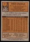 1978 Topps #7  Wes Unseld  Back Thumbnail
