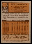 1978 Topps #58  Rudy Tomjanovich  Back Thumbnail