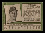 1971 Topps #407  Joe Rudi  Back Thumbnail
