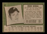 1971 Topps #92  Fred Wenz  Back Thumbnail