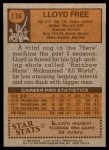 1978 Topps #116  Lloyd Free  Back Thumbnail