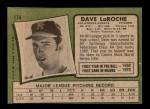 1971 Topps #174  Dave LaRoche  Back Thumbnail