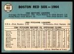 1965 Topps #403   Red Sox Team Back Thumbnail