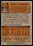 1978 Topps #36  Mickey Johnson  Back Thumbnail