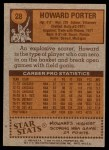 1978 Topps #28  Howard Porter  Back Thumbnail