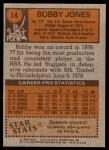 1978 Topps #14  Rob Jones  Back Thumbnail