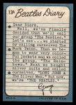 1964 Topps Beatles Diary #13 A George Harrison  Back Thumbnail