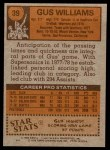 1978 Topps #39  Gus Williams  Back Thumbnail