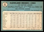 1965 Topps #481   Indians Team Back Thumbnail