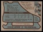 1979 Topps #44  Dave Lewis  Back Thumbnail