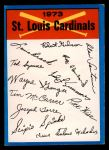 1973 Topps Blue Checklist   Cardinals Front Thumbnail