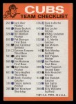 1973 Topps Blue Checklist   Cubs Back Thumbnail
