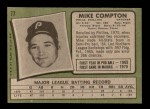 1971 Topps #77  Mike Compton  Back Thumbnail