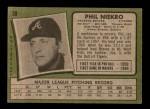 1971 Topps #30  Phil Niekro  Back Thumbnail