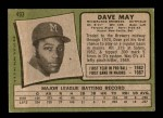 1971 Topps #493  Dave May  Back Thumbnail