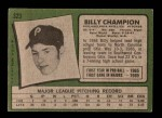 1971 Topps #323  Billy Champion  Back Thumbnail
