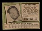 1971 Topps #459  Jim LeFebvre  Back Thumbnail