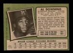 1971 Topps #182  Al Downing  Back Thumbnail