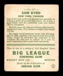 1933 Goudey #157  Sammy Byrd  Back Thumbnail