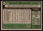 1979 Topps #500  Ron Guidry  Back Thumbnail