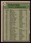 1979 Topps #244   -  Chuck Tanner Pirates Team Checklist Back Thumbnail