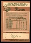 1978 O-Pee-Chee #371  Ron Lalonde  Back Thumbnail