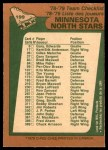 1978 O-Pee-Chee #199   North Stars Team Back Thumbnail