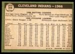 1967 Topps #544   Indians Team Back Thumbnail