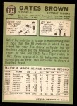 1967 Topps #134  Gates Brown  Back Thumbnail