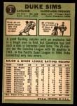 1967 Topps #3  Duke Sims  Back Thumbnail