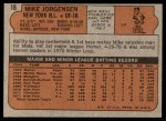 1972 Topps #16  Mike Jorgensen  Back Thumbnail