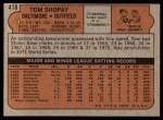 1972 Topps #418  Tom Shopay  Back Thumbnail