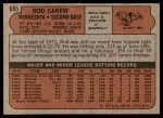 1972 Topps #695  Rod Carew  Back Thumbnail